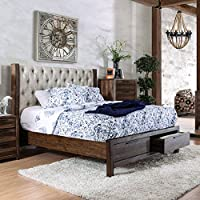 Furniture of America Andrea II Contemporary Button Tufted Rustic Natural Tone Storage Bed King