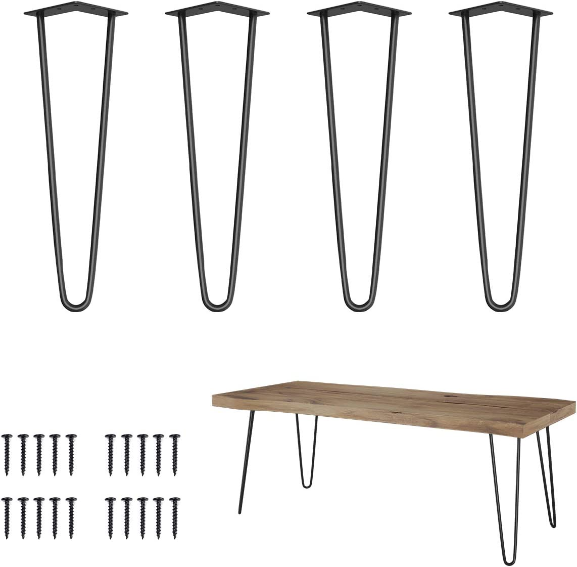 "Elicit 16"" Heavy Duty Hairpin Coffee Table Legs (Set of 4), 3/8"" Thick, Black"
