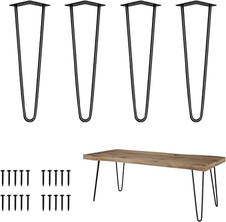 """28/"""" 30/"""" Black Hairpin Coffee Table Legs Solid Iron DIY 3 Rods Table Leg Set of 4"""
