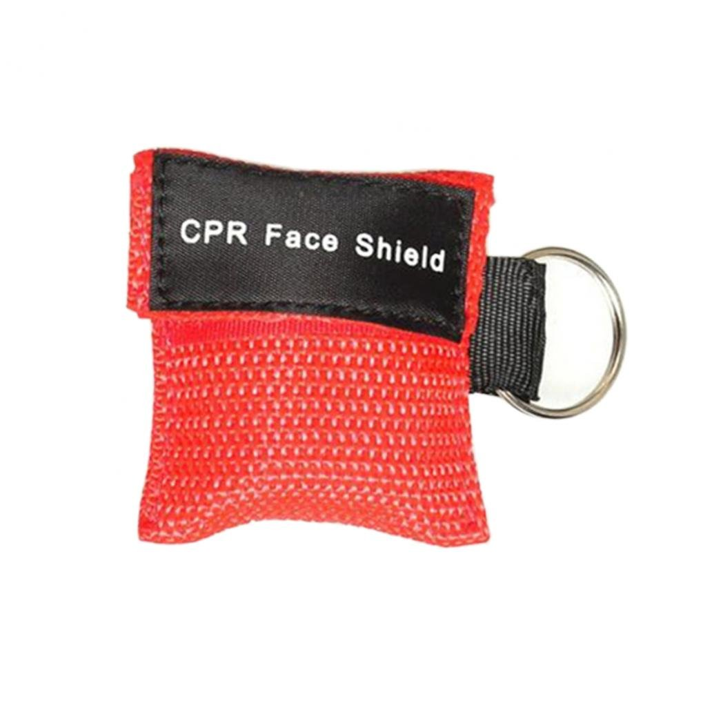 First Aid Resuscitation Facemask Face Mask Shield Key-ring Mouth to Mouth Key Ring Pouch Jiacheng29