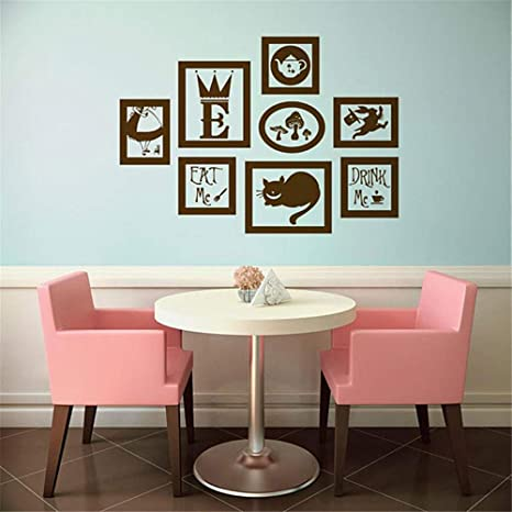 Amazon Com Alice In Wonderland Vinyl Wall Decal Frames Kit Wall Sticker Waterproof Mural Diy For Home Decor Home Kitchen