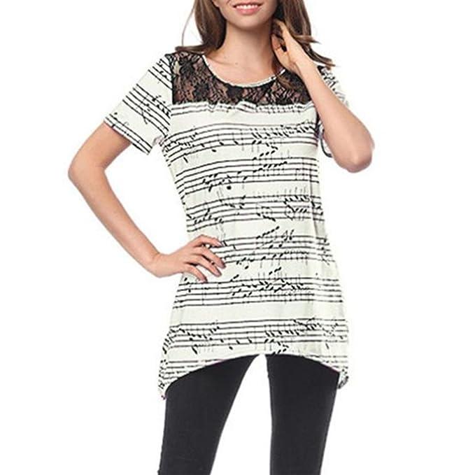 Damen Musical Note T-shirt Rundhals Kurzarm Shirt Sommer Tops Hemd Bluse  Oberteile mit Spitzen fa10df9c24