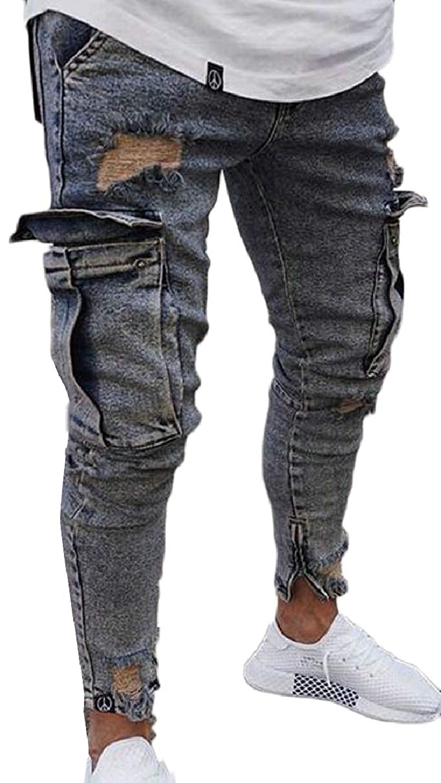 ZXFHZS Mens Casual Jeans Skinny Straight Denim Pants Side Pocket Biker Jeans