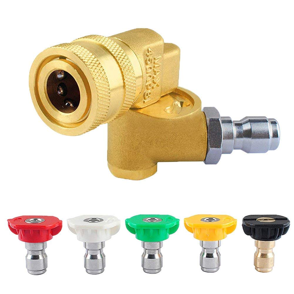 Wadoy Pressure Washer Spray Nozzle Tips with Quick Connecting Pivoting Coupler, 4500PSI 1/4'' Plug 90 Degree-Pressure Washer Accessories Kit by Wadoy