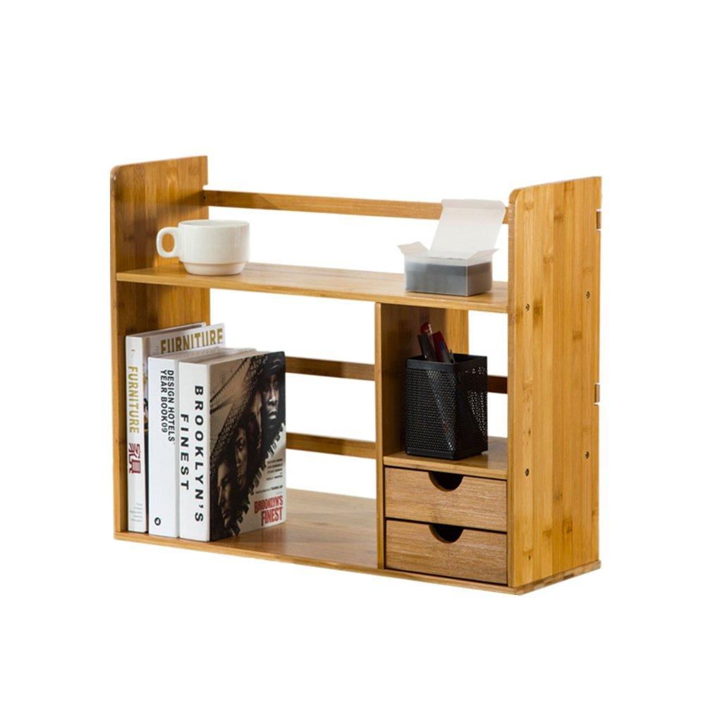 Li Na Home Bookcases Simple table rack with drawers Student creative bookshelf Desk Solid Wood Storage Desktop Bookshelf Flower stand Decoration storage rack penholder (Color : 48cm)