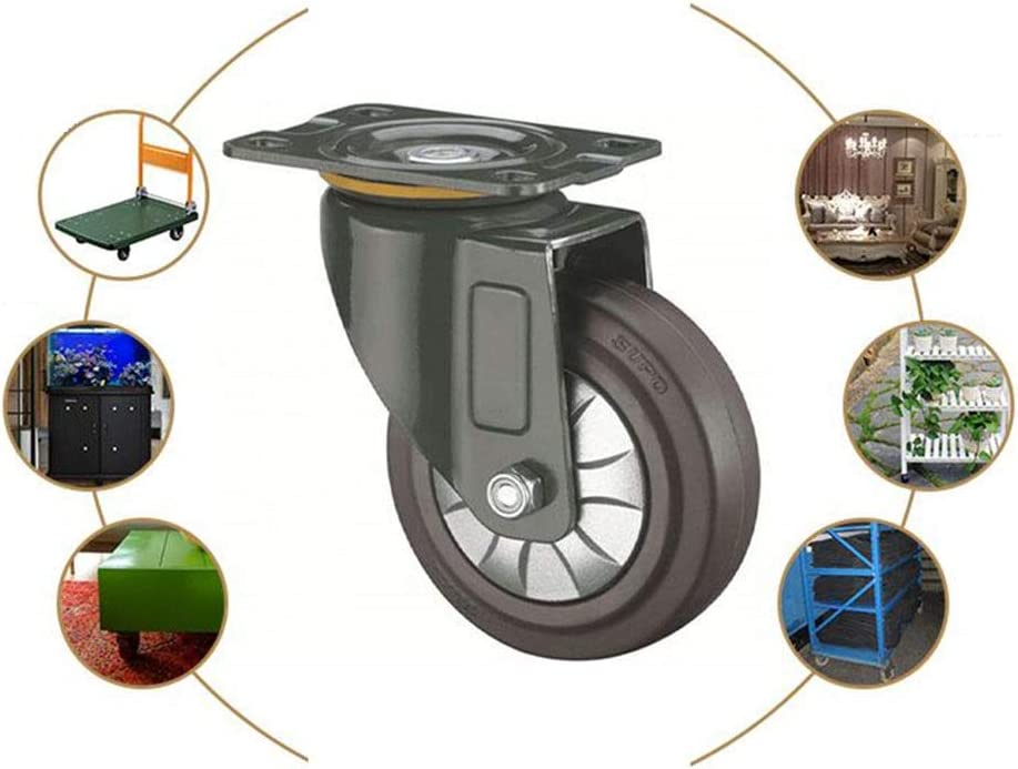 Color : Orientation, Size : 3 inches MUMA 3//4//5 Inch Silent Rubber Universal Wheel Furniture Push Wheel High Elastic Shock Absorber Casters Industrial Mechanical Wheel
