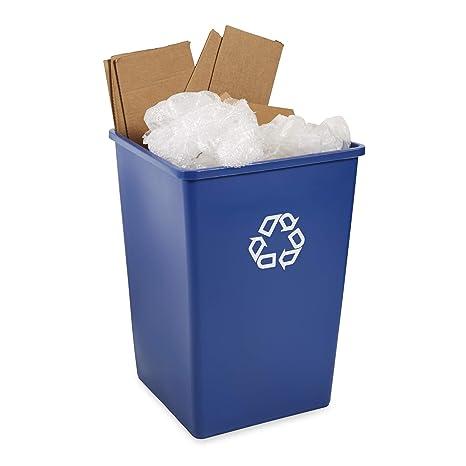 azul Rubbermaid FG395873 capacidad de 132 l Cubo de basura de reciclaje cuadrado