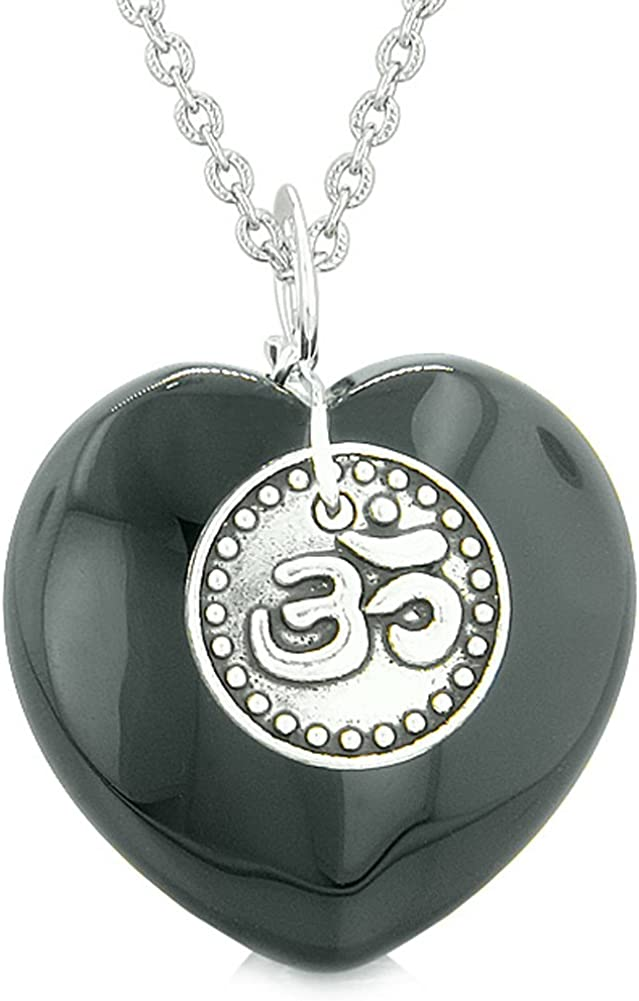 Spiritual OM Amulets Love Couples or Best Friends Hearts Black Agate Pink Simulated Cats Eye Necklaces