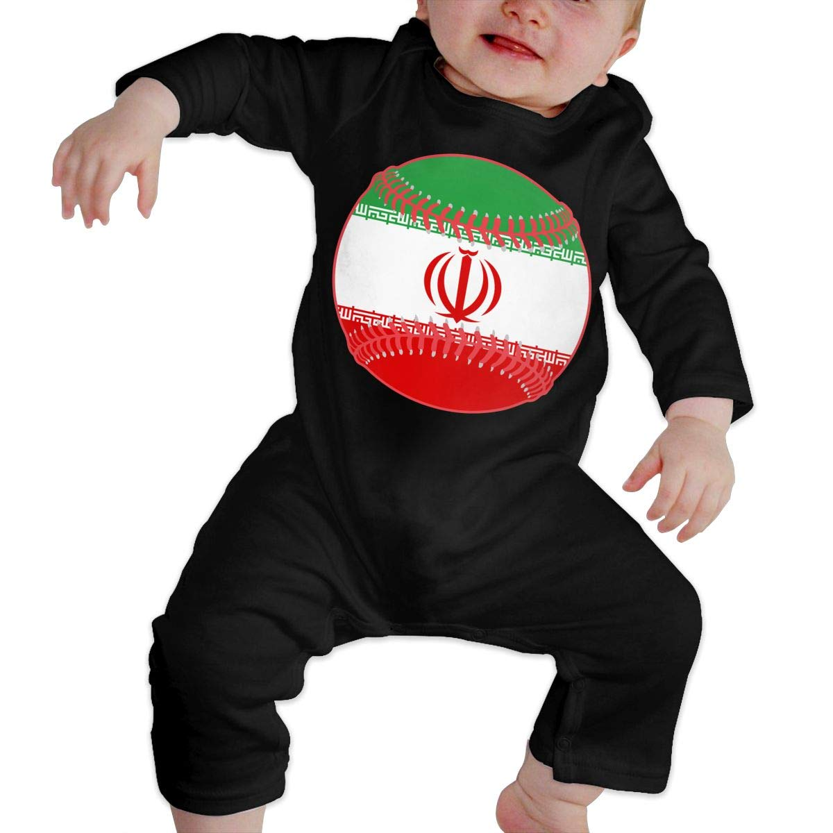 Mri-le1 Toddler Baby Boy Girl Bodysuits Iran Flag Baseball Clipart Infant Long Sleeve Romper Jumpsuit