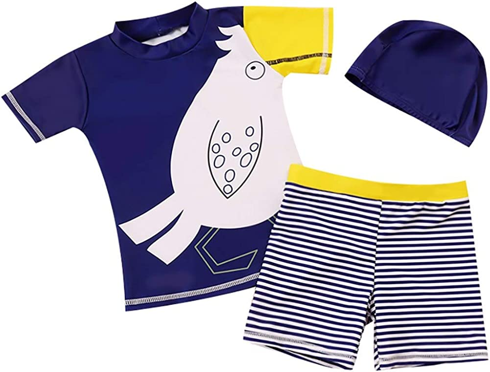 Kikibaby Toddler Baby Boy Summer Short Sleeve One Piece Rash Guard Swimsuit Sun Protection with Hat 1-6T