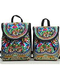 Vintage Women Embroidery Ethnic Backpack Travel Handbag Shoulder Bag Mochila