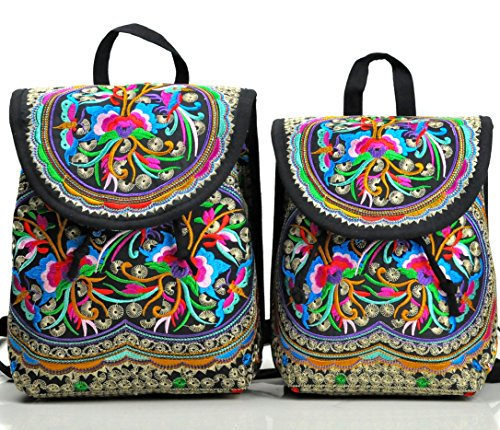 Goodhan Embroidery Backpack for Women Girls, 2 Pack Shoulders Bag for Mom and ()
