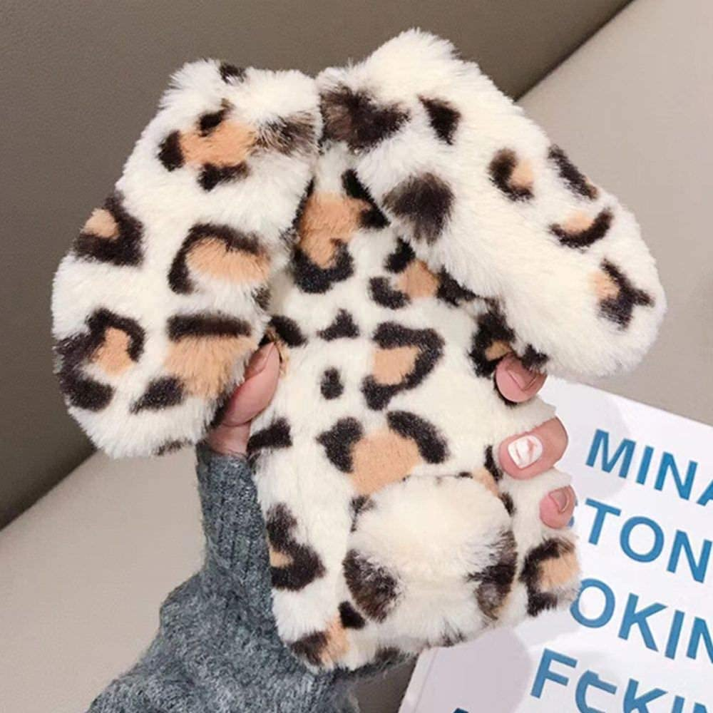 for iPhone 7 iPhone 8 iPhone SE 2020 Soft Rabbit Leopard Print Case, Luxury Cute Bunny Ears Soft TPU Case with Bling Diamond Silicone Case Fluffy Winter Protective Back Bumper Chic Plush Case Cover
