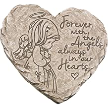 "Precious Moments 171459 Forever with The Angels, Always In Our Hearts Decorative Resin Angel Memorial Garden Stone, Gray, 8"" Long by 7.25-in Wide"