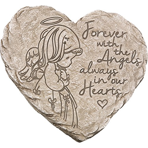 Garden Gifts by Precious Moments 171459 Forever With The Angels, Always In Our Hearts Decorative Resin Angel Memorial Garden Stone, Gray, 8-inch Long by 7.25-in Wide