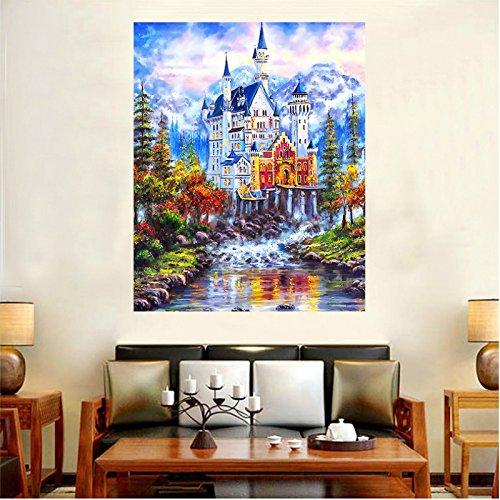 Faraway Fantasy Castle Van Gogh Full Round Diamond Painting, Crystal Diamond Rhinestone Painting Paint by Number Kits 16X20inch