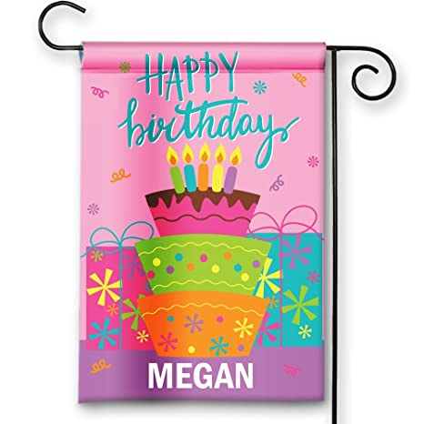 Amazon Colorful Birthday Celebration Cake Happy Custom Personalized Double Sided House Garden Flag Banner Outdoor