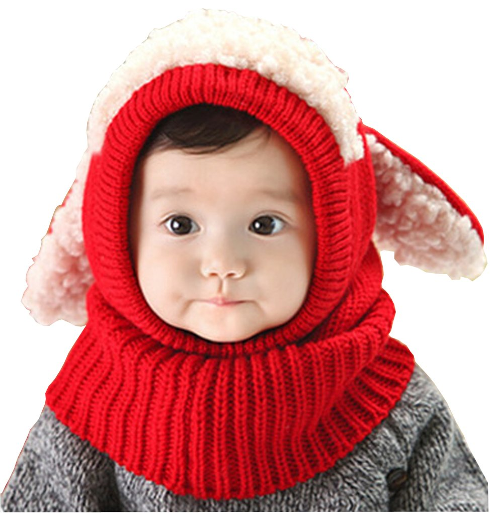 Baby Toddler Winter Hood Hat Scarf Earflap Skull Caps Warm Soft Cute Knitted Puppy Hat Beanies Head Ear Neck Warmer, Great Christmas Halloween Birthday Gift Afinder