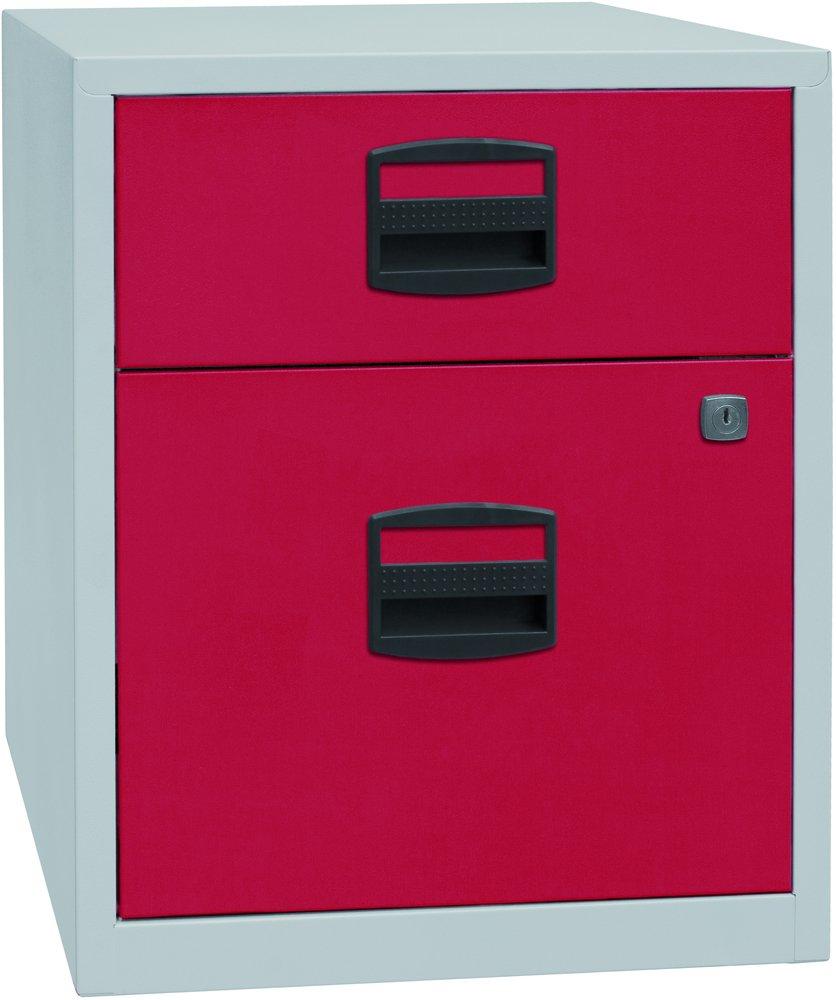 Bisley Home Mobiler Beistellschrank Pfa, 1 Universalschublade, 1 HR-Schublade, Metall, 506 Korpus Lichtgrau, Fronten Kardinalrot, 40 x 41.3 x 52.8 cm PFAM1S1F506