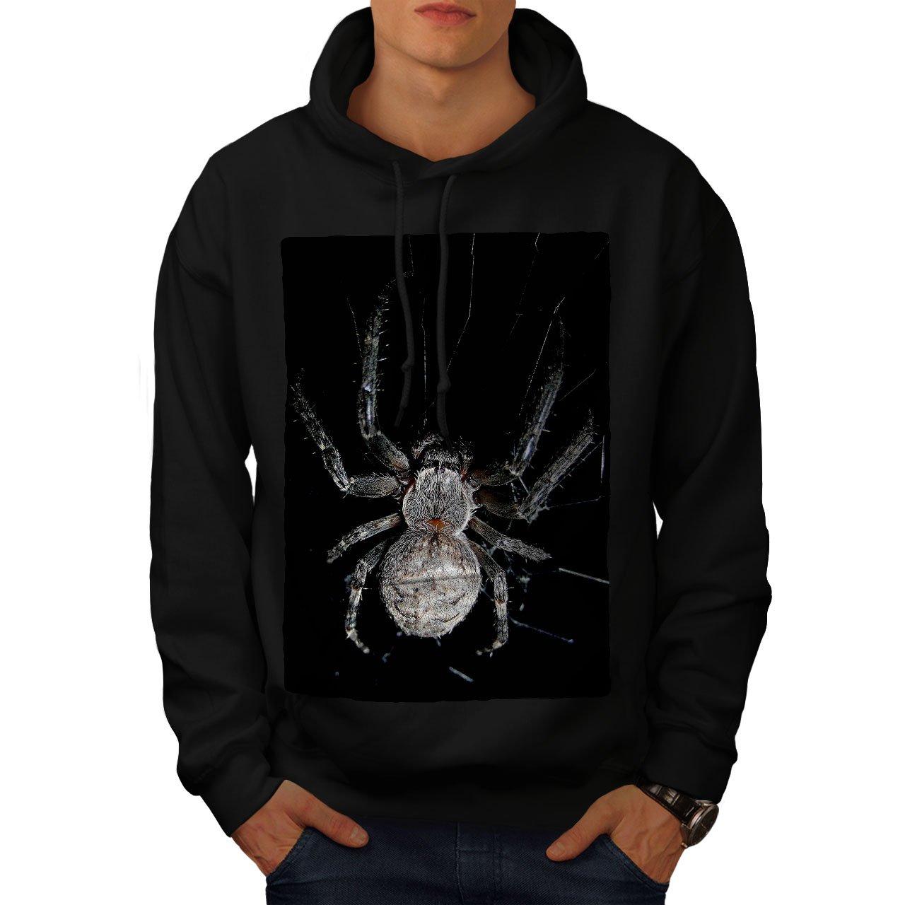 wellcoda Spider Web Photo Animal Mens Hoodie Web Hooded Sweatshirt