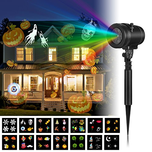 Christmas Led Projector Lights, Goutoday Newest Version 14 Slides Bright Waterproof Landscape Led Projector Spotlight Show for Halloween, Holiday, Garden, Children Birthday Party (Next New Moon On Halloween)