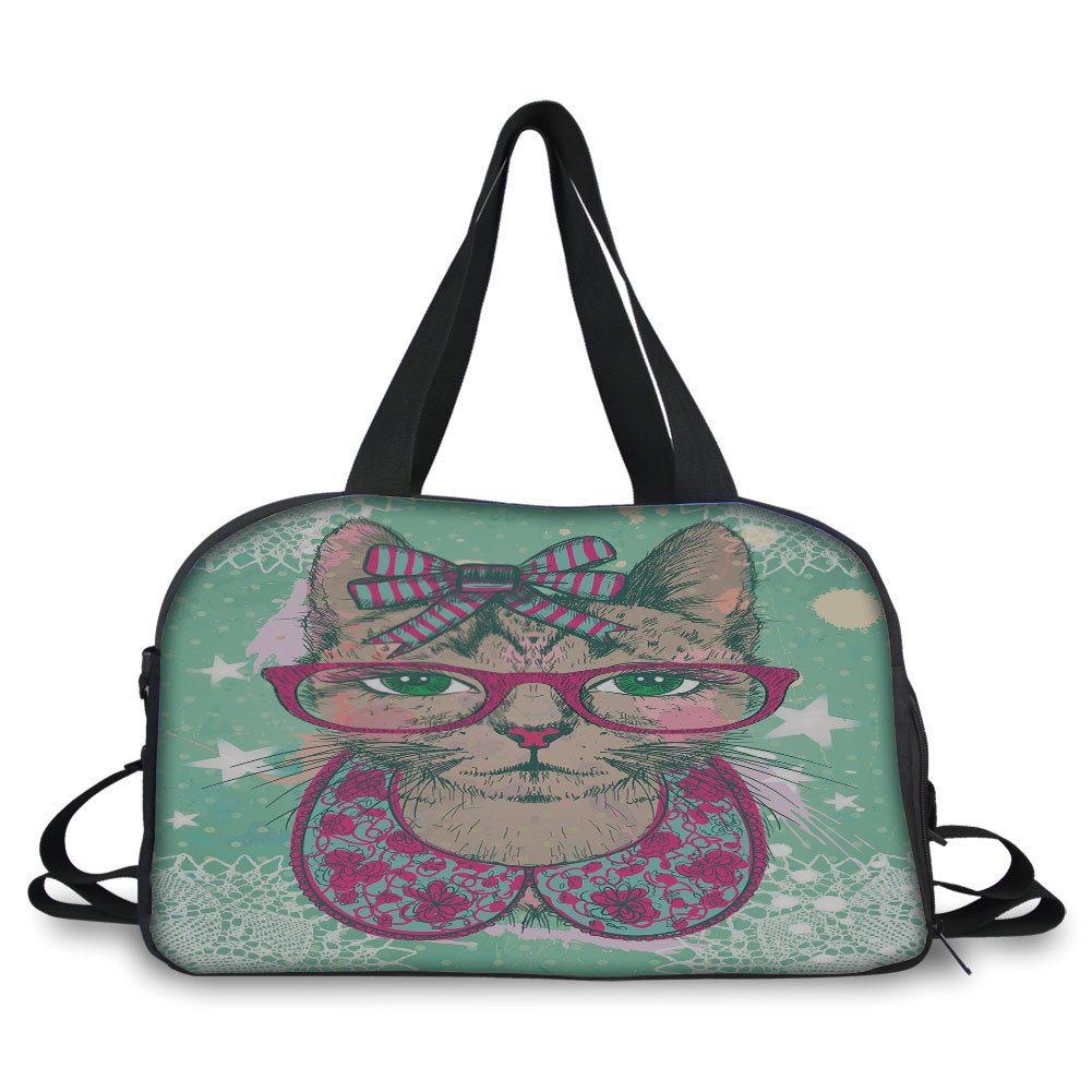 Travel handbag,Cat Decor,Fashion Cat in Hipster Glasses and Lace Collarette Bow Vintage Humor Graphic,Pink Mint Green ,Personalized