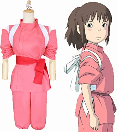 Amazon Com Lisi Anime Spirited Away Cosplay Costumes Ogino Chihiro Kimono Suit Tops Pants Belt Strap 4 Piece Set Pink L Garden Outdoor