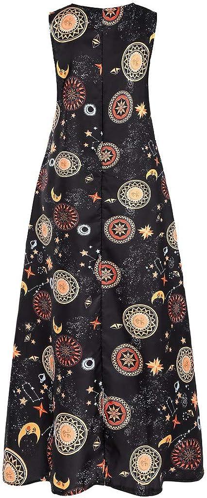 RODMA Women Sun Stars Moon Print Dress Plus Size Sleeveless Party Dress Vintage Bohemian Maxi Dress