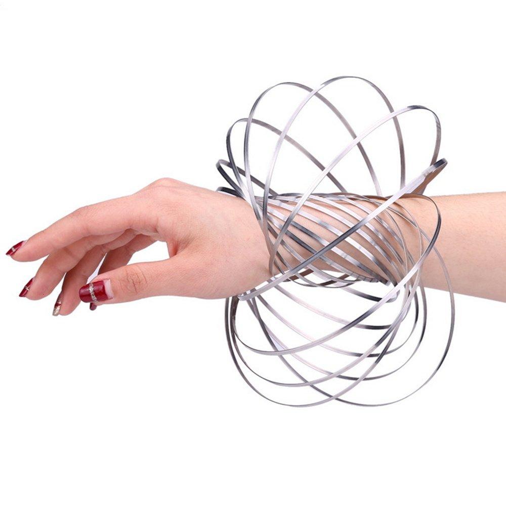 HOMEYU® Kinetic Educational Spring Jouet - Anneau de débit en forme de 3D interactif multi sensoriel pour enfants garçons filles adulte en acier inoxydable (argent) | Une Grande Variété De Modèles