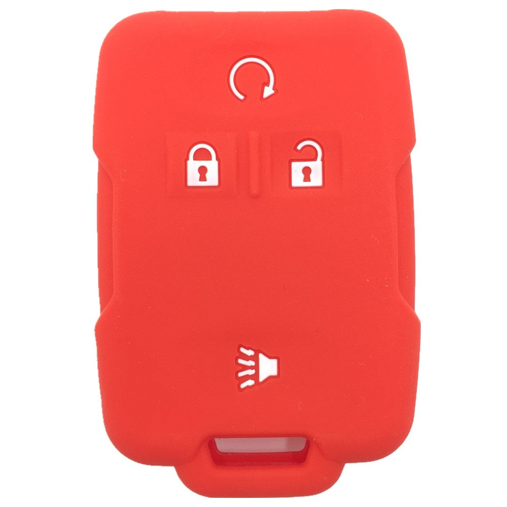 Ezzy Auto Red Silicone Rubber Key Fob Case Key Cover Keyless Remote Jacket Skin Protector fit for Chevrolet Silverado Colorado GMC Sierra Yukon Cadillac