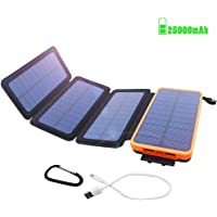 Powerbank Solar Externer Akku 25000mAh Solar Ladegerät mit 4 Solar Panels Dual USB 2.1A, Notfall-Energie mit LED-Licht & Haken für iPhone,Samsung,iPad,und andere Smartphones/Handys, Wasserdicht