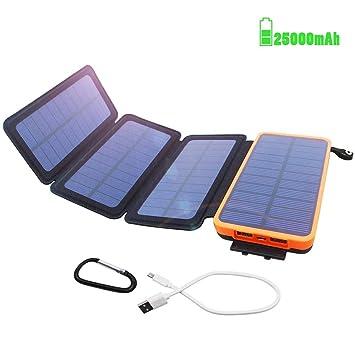 Batería Externa Solar 25000mAh Power Bank Cargador Solar ...