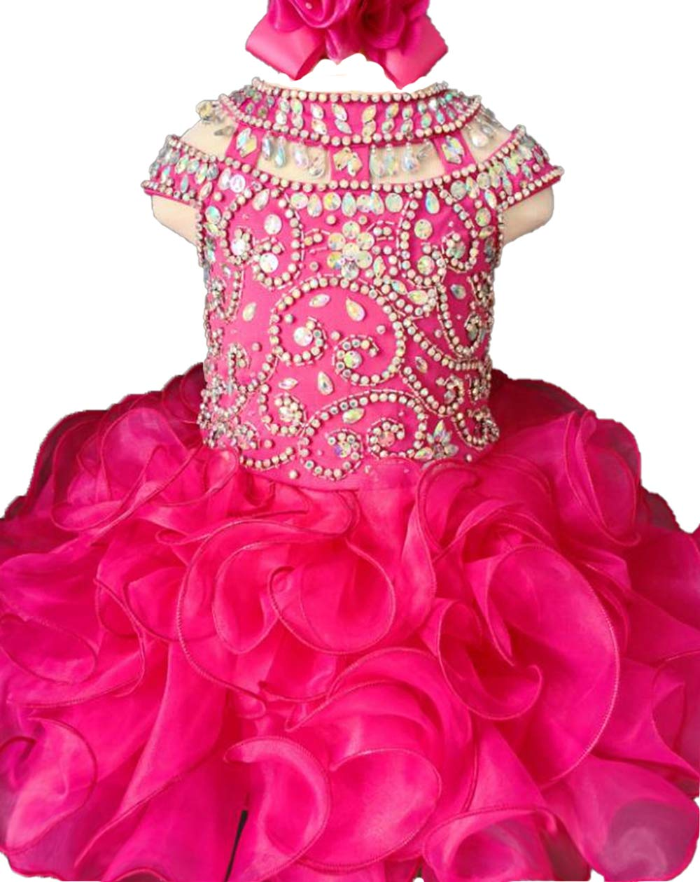 Jenniferwu Infant Toddler Baby Newborn Little Girl's Pageant Party Birthday Dress G225-4 Fuchsia Size 5T