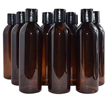 b09c53ddd279 Bekith 12 Pack 8 ounce Amber Empty Plastic Bottles with Disc Top Flip Cap;  BPA-Free Refillable...