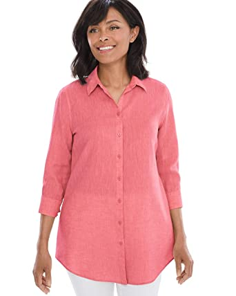 10bd75b9d76 Chico s Women s No-Iron Linen Loop-Back 3 4 Sleeve Tunic at Amazon ...