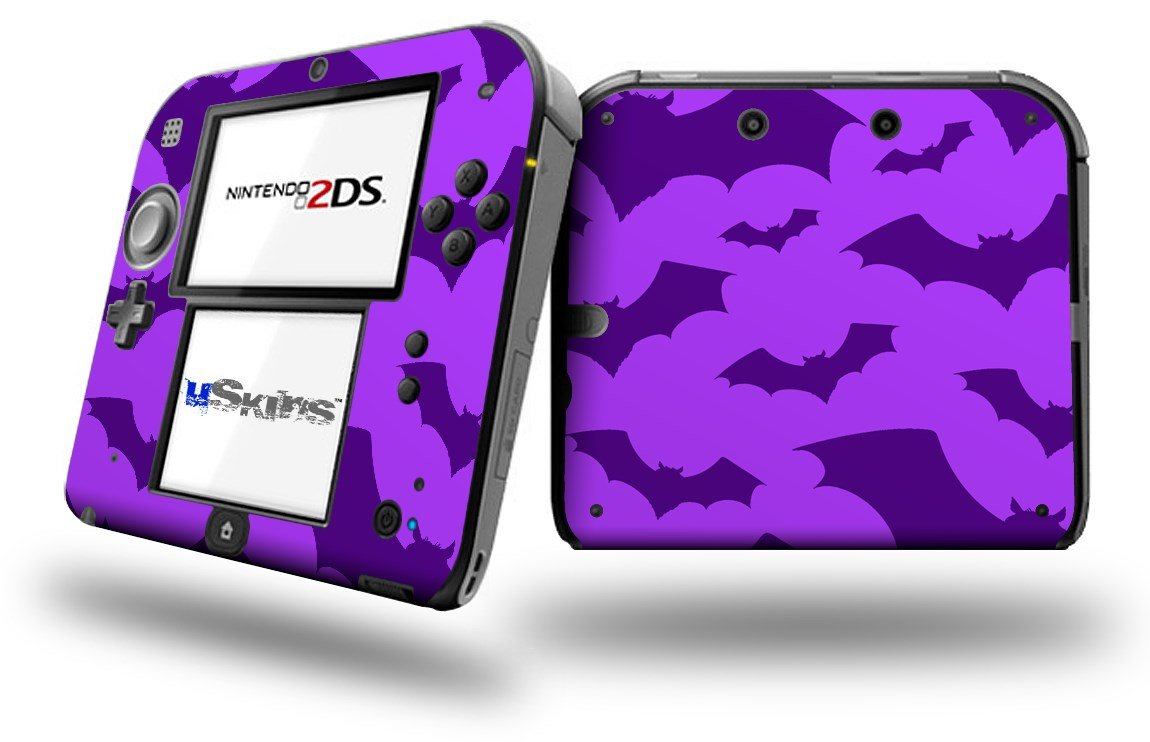 Deathrock Bats Purple - Decal Style Vinyl Skin fits Nintendo 2DS - 2DS NOT INCLUDED
