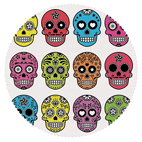 Round Tablecloth [ Skull,Ornate Colorful Traditional Mexian Halloween Skull Icons Dead Humor Folk Art Print,Multi ] Fabric Home Tablecloth Ideas