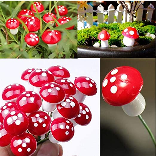 Onsinic 10pcs 2cm Artificial Mini Seta miniaturas Hada del jardín Musgo terrario Resina Artesanía Decoración estacas Craft: Amazon.es: Hogar