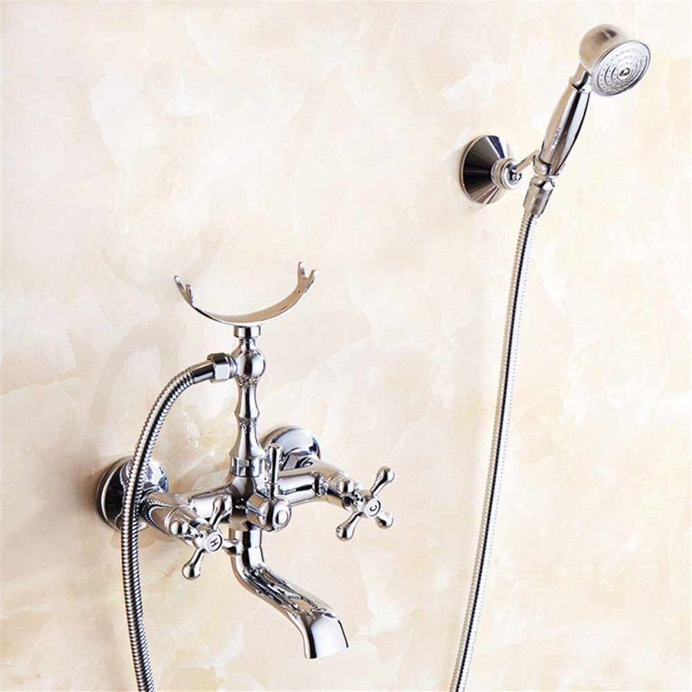 Good quality Antiquitäten Becken Spül Mischer Tap Bad Dusche Set Kupfer warm und kalt Wasserhahn Dusche Badezimmer Wand montiert Bad Booster Duschkopf