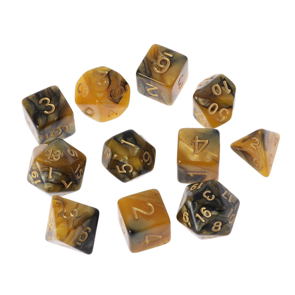 Mentin 11 Pcs Polyédicale Dragons D&D Dice Jeux De Role Donjons et, 1 Ensembles complets de d20, d12, d10, d8, d6 et d4 pour DND MTG RPG Dungeons and Dragons Dice Game, Multiple Colors (01#)