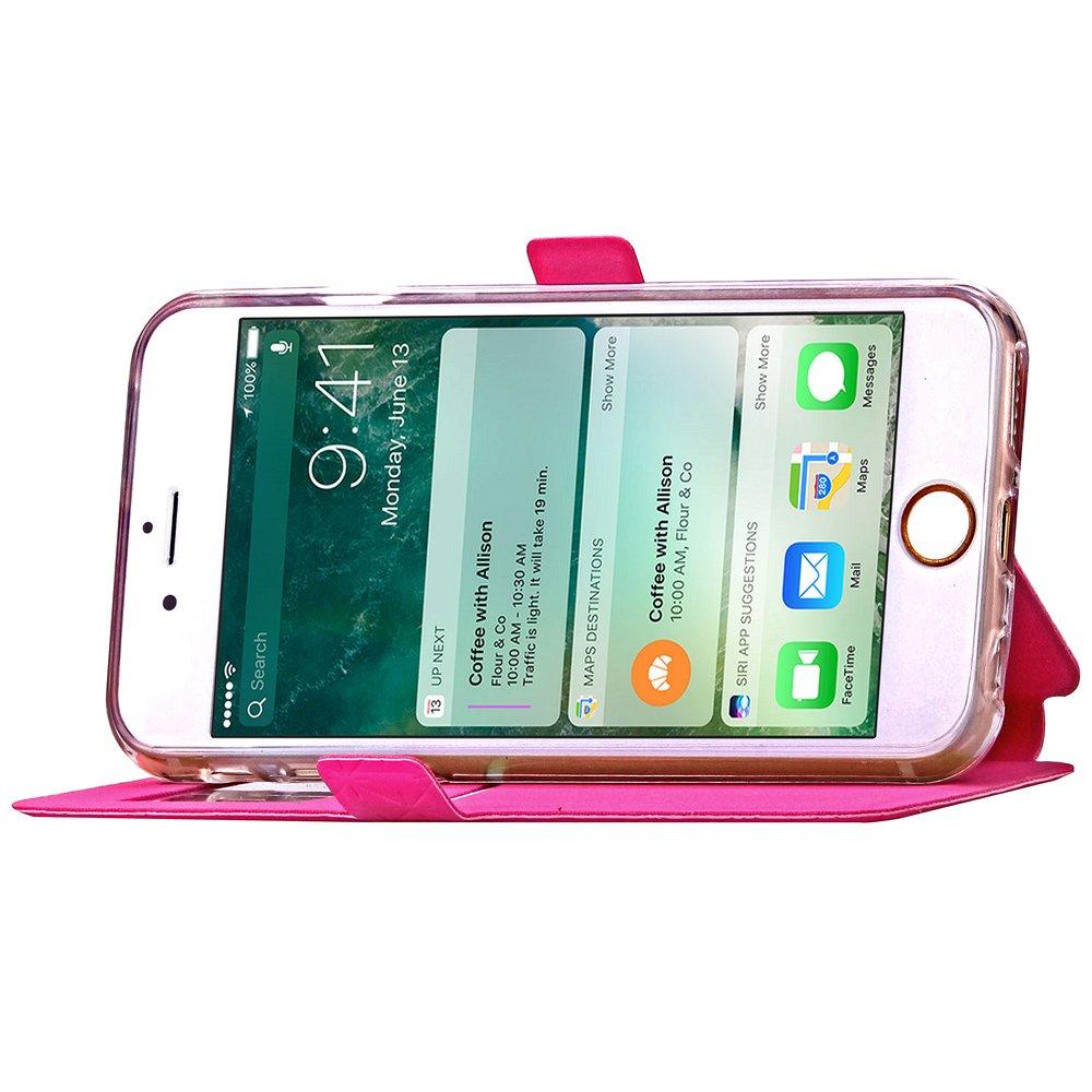 iPhone 8 iPhone 8 Funda iPhone 7 adorehouse Flip Carcasa Tarjetas Cr/édito Slots Funci/ón de Soporte Billetera Cover Estuche con View Window para iPhone 7 Negro