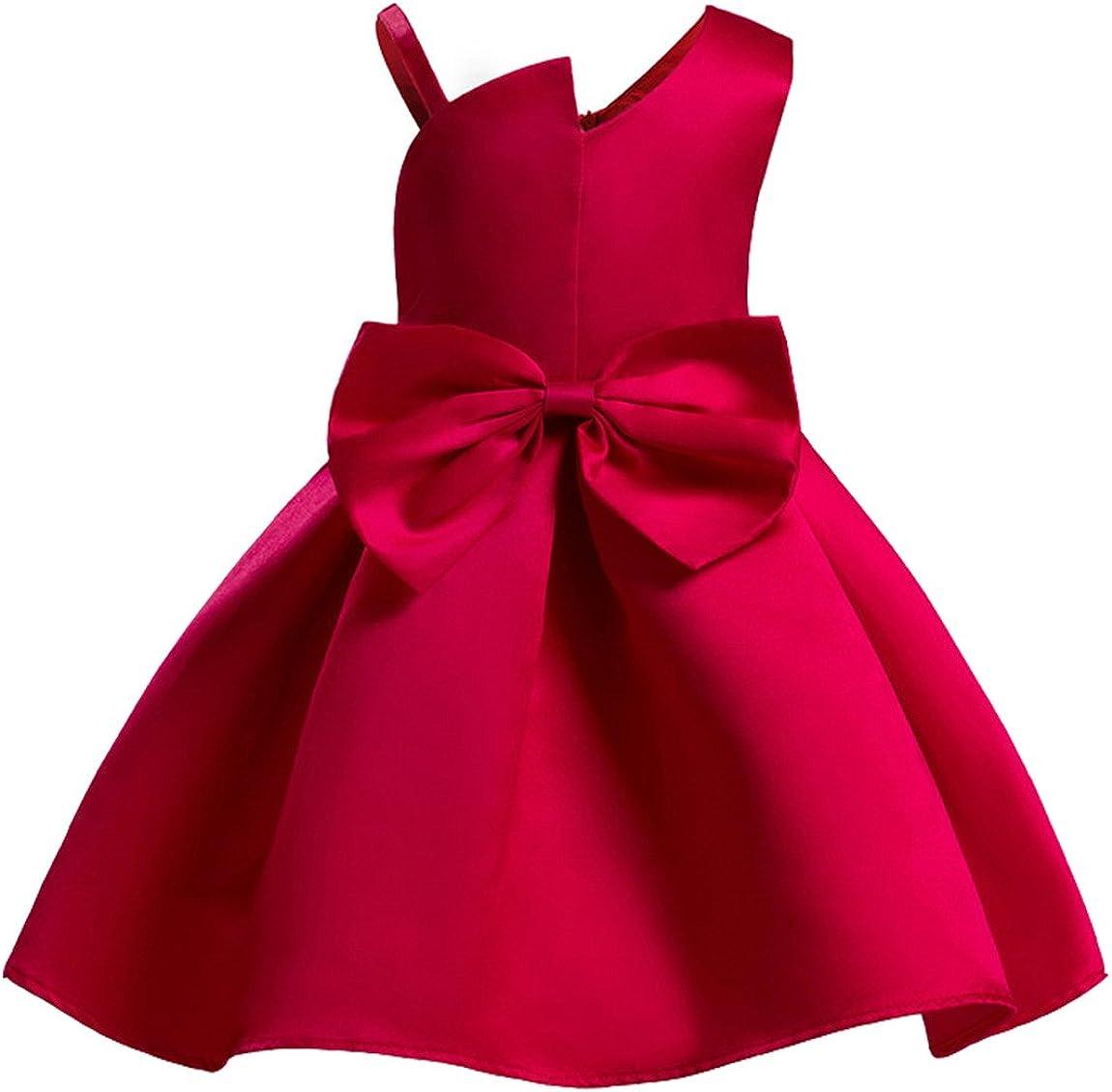 AnKoee Bambine Senza Maniche Principessa Abiti Eleganti Bambina Partito Compleanno Comunione Swing Vestiti da Cerimonia 3-10 Anni
