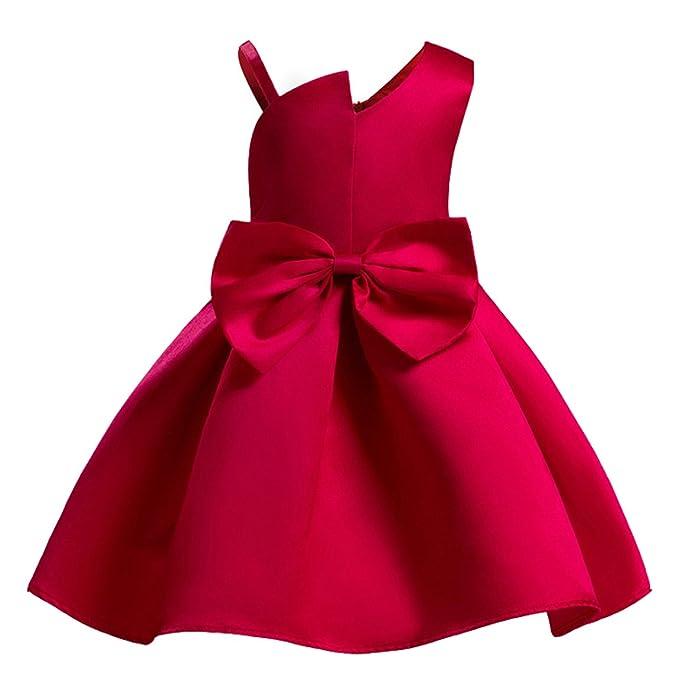 Ankoee Vestido Elegante Rojo y azul Boda Fiesta para Niña (2 a 10 Años) Vestido de Princesa para Dama de Honor: Amazon.es: Ropa y accesorios