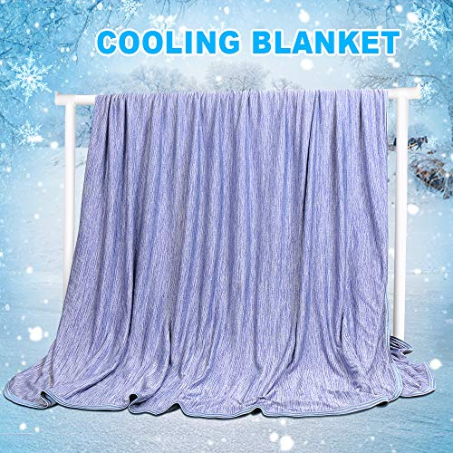 LUXEAR Cooling Blanket 59 X 79 inches Queen Sized Blanket, Japanese Q-Max 0.4 Mica Nylon with Cooling Fibers MaterialBlanket for Adults Children Babies. Keep Cooling in Summer Night -Large-Blue
