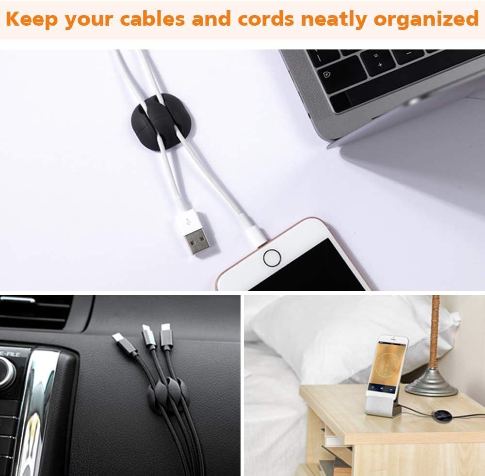 Rangement Cable Bureau en Silicone avec 10pcs R/éutilisable Attache Cable Support de Gestion C/âbles pour Fils de Chargeur//Ordinateur//Souris///Écouteur//T/él/éphone Gozlu 16pcs Clips C/âble Organisateur