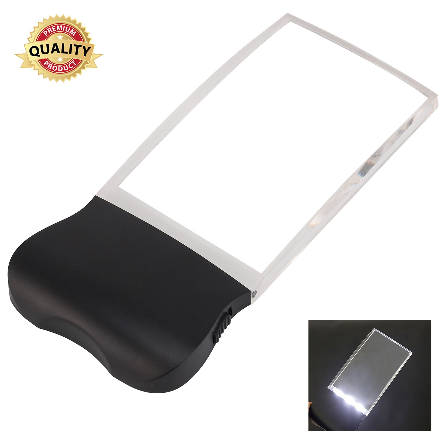 Magnifying Glass for Reading, Magnifying Glass with Light, Handheld Rectangular LED Light 2X Magnifier, Rimless Distortion-Free Magnifier Lens