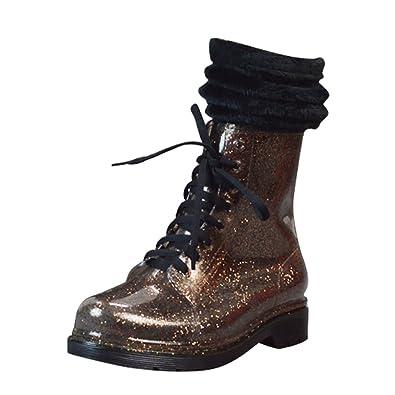 LvRao Damen Hoher Absatz Stiefel Schnee Regen Wasserdichte Stiefel Warm Booties mit Schnürsenkel Rosa mit Socken 40 V6FcL8mn93