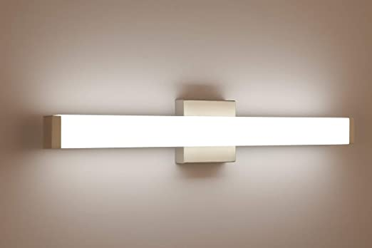 Amazon Com Yhtlaeh Bathroom Vanity Light Brushed Nickel Square Led 24 Inch 14w 4000k Natural White Light Wall Bar Lighting Fixtures Over Mirror Home Improvement