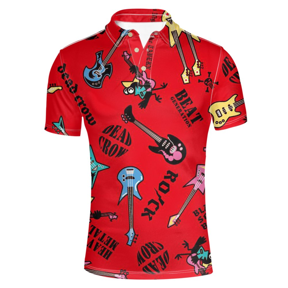 Nopersonality Men's Polyester Slim Fit Printed Polo Shirts Dry Short Sleeve T-Shirts