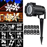 Christmas Light Projector, Ucharge Rotating Night Light Projector Snowflake Spotlight, 10 Slides White Dynamic Lighting Landscape Led Projector Light Show for Halloween, Party, Holiday Decoration ()